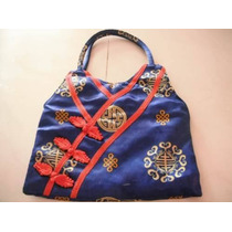 Bolsa Bag De Mano Oriental China De Tella Bordada Retro