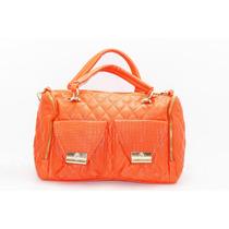 Bolsa Naranja Con Costura De Rombos Y Cadena Dorada B43