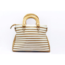 Bolsa Charol Color Cajeta Y Rayas Blancas B55