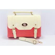 Bolsa Rosa Y Color Hueso Con Broche Giratorio Dorado B82
