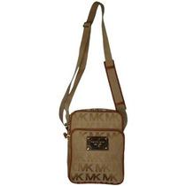 Bolsa Michael Kors Beige Camel Firma Jacquard Flight Bag