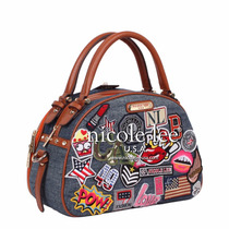 Bolso Nicole Lee Patch Print Bowler Bag Fotos Reales
