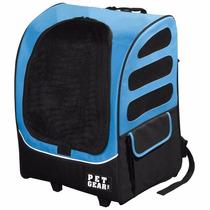 Mochila Para Transportar Mascotas Con Ruedas Perro Gato Azul