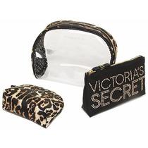 Victorias Secret Leopard Cosmetic Bag Trio
