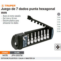 Juego De Dados Punta Hexagonal Cuadro 3/8 7 Piezas Mm