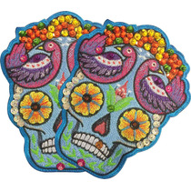 Frida Calavera Floreada Azul Par Parches Bordados Chaquira