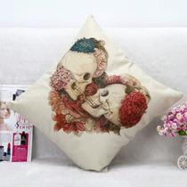 Cojín Decorativo Calavera Enamorados 45x45cm Alta Calidad