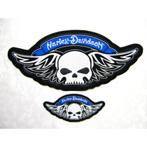 Harley Davidson Parche Calabera Alas,p/chaleco Chamarra Moto