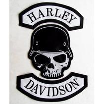Calabera Con Casco Harley Davidson Juego De Parches Chamarra