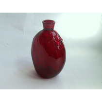 Preciosa Botella De Cristal Rojo Soplada A Mano