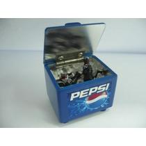 Rarisimo Set De Pepsi, Mini Hielera De Madera Y Metal , Vv4