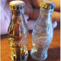 2 Mini Botellitas De Refresco Coca Cola De Vidrio 1950s
