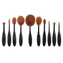 Kit De 10 Brochas Cepillo Maquillaje Oval Para Difuninar