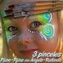 Set 3 Brochas Maquillaje Pinceles Profesionales Body Paint