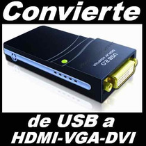 A17 Convertidor Usb A Hdmi, Vga Y Dvi, Adaptador De Video Hd