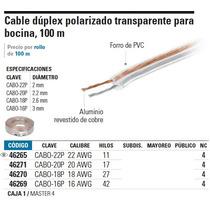 Cable Dúplex Polarizado Transparente Para Bocina, 100 M, 20