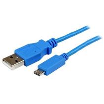Startech.com Cable Slim Micro Usb B Usb A 1 Metro Azul