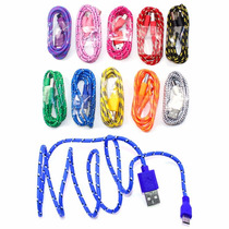 Lote De 10 Cables Usb V8 Micro Usb Reforzado De Nylon Tejido