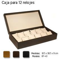 Estuche Curpiel Para 12 Relojes Sin Vidrio Color Chocolate