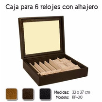 Alhajero De Piel Para 6 Relojes Sin Vidrio