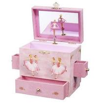 Caja De Musica Rosa Con Muñeca Bailarina Y Espejo Nuevo