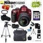 Nikon D3200 Roja + 18-55mm + 14 Accesorios