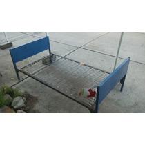 Cama Individual De Metal Azul Spring De Tambor.