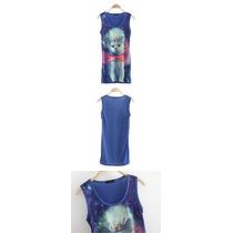 Hermosa Blusa Con Príncipe Gato Diseño Único, Azúl