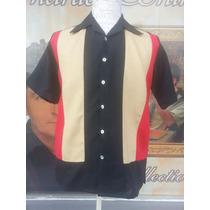 Camisa Lino Italian Charlie Sheen Boliche Rockabilly Bowling