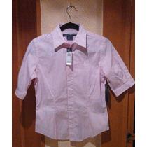 Ralph Lauren Cool Camisa De Mujer De Manga 3/4, Rosa-blanco