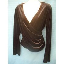Blusa De Terciopelo Negro, Talla L/g Metaphor Cruzada Frente