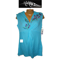Blusa Top M Mediana Playera Azul Aqua In Vain Bello Diseno !