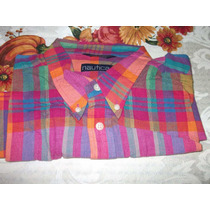 Camisa Nautica,manga Corta,multicolor,xl,hecha En Filipinas