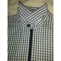 Camisa De Cierre Zara Xl Cuadros Blanco Y Negro
