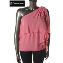 Blusa Xl Inc Extra Grande Rosa Chiffon Un Hombro Hermosa Ve!