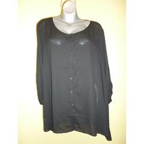 Blusa George Color Negro Talla Extra Grande 4x 26 28 W