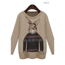 Suku 70299 Sueter Tejido Con Conejo Moda Japón $399