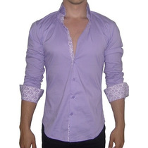 Camisa John Leopard Modelo Imperial Lilac Detalles Puños