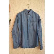 Camisa Elemental Black Label Azul Con Botones Cafés Talla M