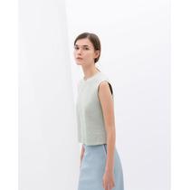 Moderna Blusa Sin Mangas Zara Figuras Geométricas