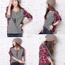 Moda Japonesa Blusa Camiseta A Cuadros Moda Asiatica