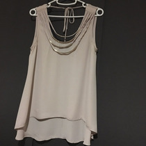 Hermosa Blusa De Gasa Color Cafe Claro