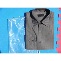 Op4 Camisa De Vestir Caballero Gris Oxford A Rayas Emme