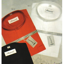 Camisas Habers Cuello Mao Manga Larga Negro Blanco Rojo