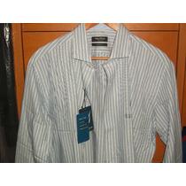 Camisa De Vestir Nautica Nueva Color Celeste Rayas Blancas