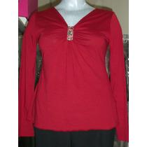 Blusa Roja De Maternidad Escote C/broche Pedreria Talla L-36