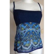 Talla-s Blusa De Tirantes Combinada Mezclilla-algodón! Bl922