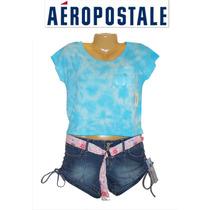 Playera Aeropostale S Chica Azul Aqua Difuminada Oferta Ve!!