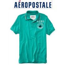 Aeropostale Playera Xxl Xx Grande Polo Hombre Verde Bordada!