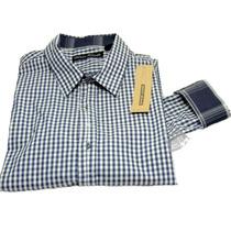 Camisa Dkny Cuadros Talla M Azul Marino 100% Algodón